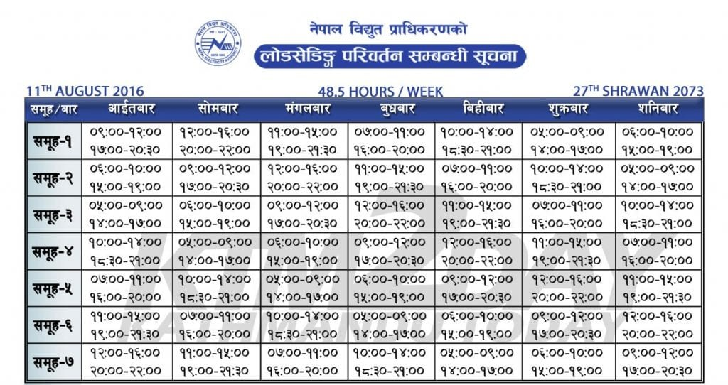 new load shedding schedule